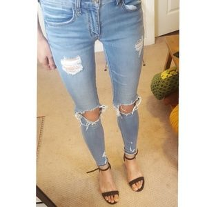 Busted knee ripped distressed jegging jeans